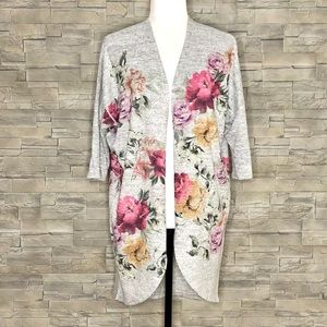 Live In The Moment grey floral cardigan